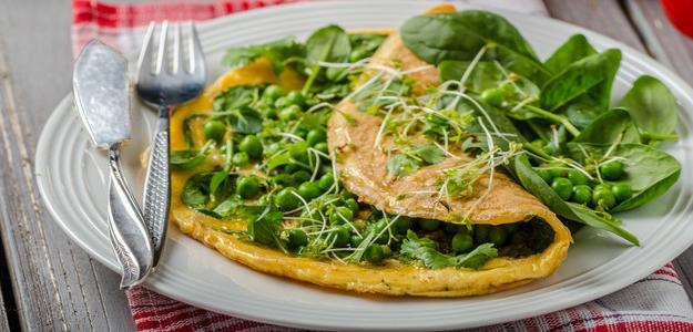 Hrášková omeleta s tymiánom a vlašskými orechami