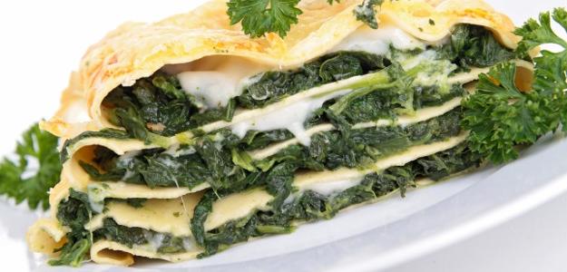 Vegetariánske špenátové lasagne s bryndzou a syrom