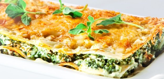 Špenátové lasagne s tvarohom